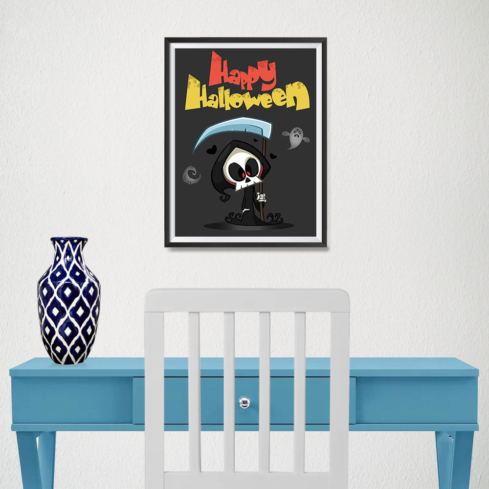 Ezposterprints - The Cute Reaper Halloween Poster - 12x16 ambiance display photo sample