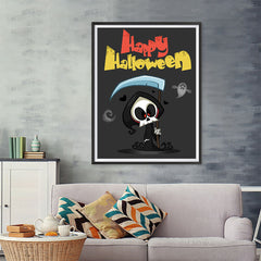 Ezposterprints - The Cute Reaper Halloween Poster - 36x48 ambiance display photo sample