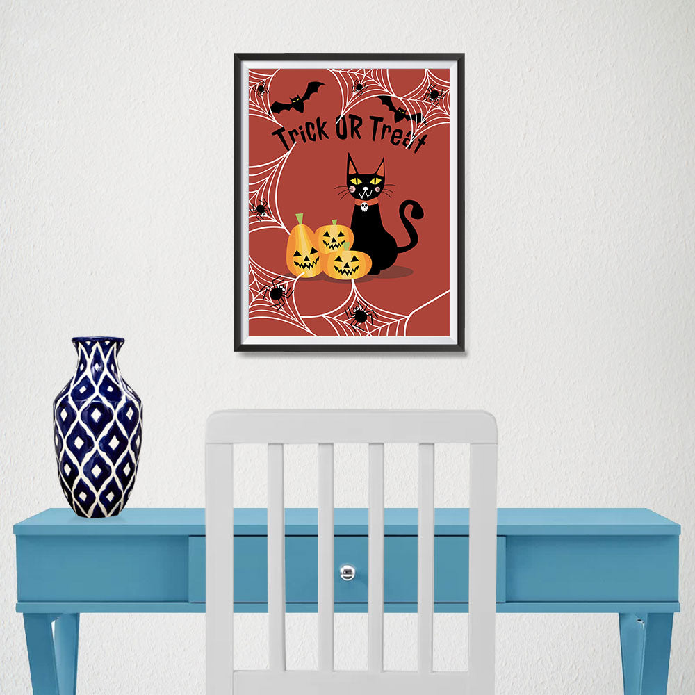 Ezposterprints - Happy Pumpkins and The Cat Halloween Poster - 12x16 ambiance display photo sample