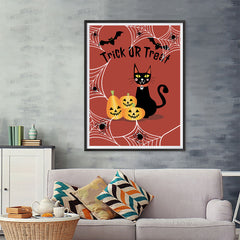 Ezposterprints - Happy Pumpkins and The Cat Halloween Poster - 36x48 ambiance display photo sample