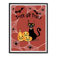 Ezposterprints - Happy Pumpkins and The Cat Halloween Poster ambiance display photo sample