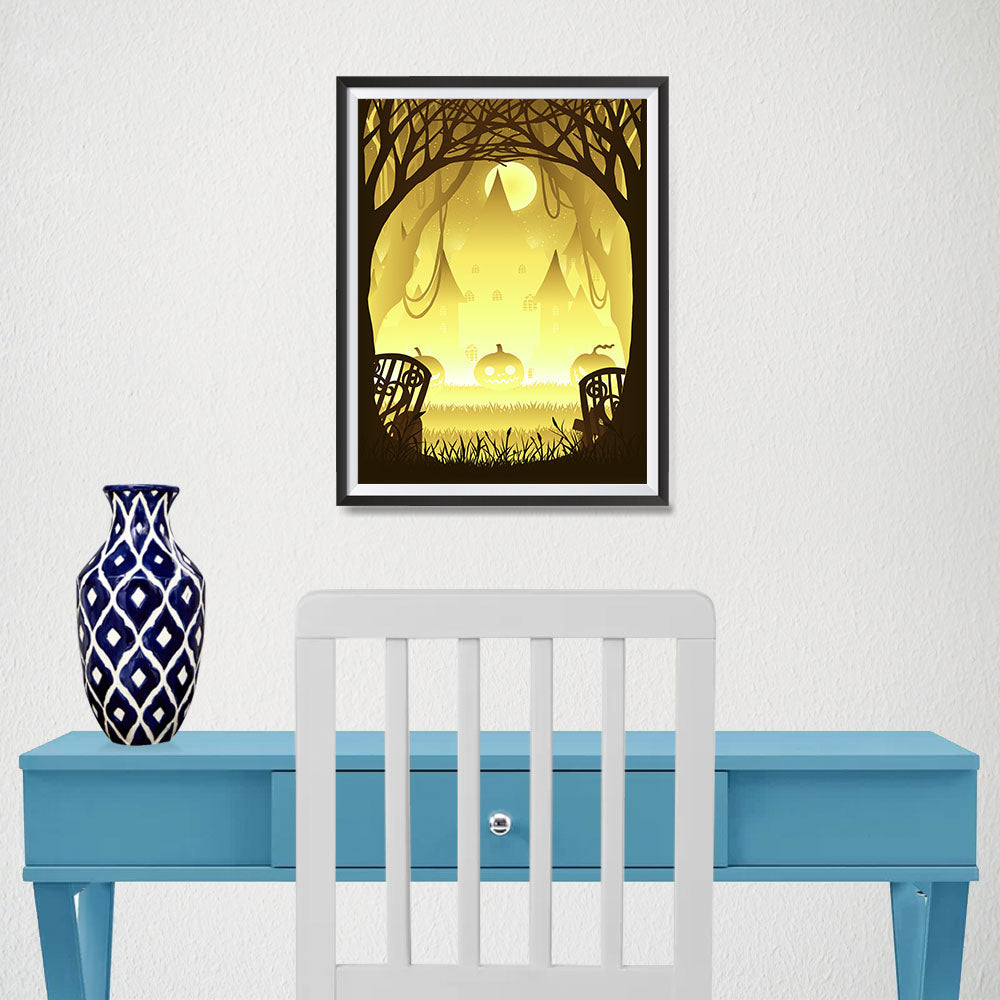 Ezposterprints - Pumpkin Silhouette In the Woods Halloween Poster - 12x16 ambiance display photo sample