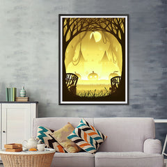 Ezposterprints - Pumpkin Silhouette In the Woods Halloween Poster - 36x48 ambiance display photo sample
