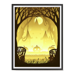 Ezposterprints - Pumpkin Silhouette In the Woods Halloween Poster ambiance display photo sample