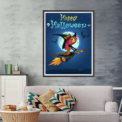 Ezposterprints - Happy Flying Young Witch Halloween Poster - 36x48 ambiance display photo sample