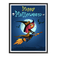 Ezposterprints - Happy Flying Young Witch Halloween Poster ambiance display photo sample