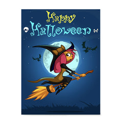 Ezposterprints - Happy Flying Young Witch Halloween Poster