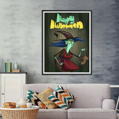Ezposterprints - Scary Old Witch Halloween Poster - 36x48 ambiance display photo sample