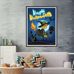 Ezposterprints - Happy Flying Young Witch 2 Halloween Poster - 36x48 ambiance display photo sample