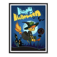 Ezposterprints - Happy Flying Young Witch 2 Halloween Poster ambiance display photo sample
