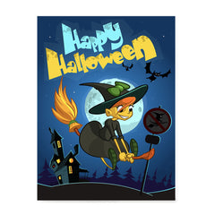 Ezposterprints - Happy Flying Young Witch 2 Halloween Poster