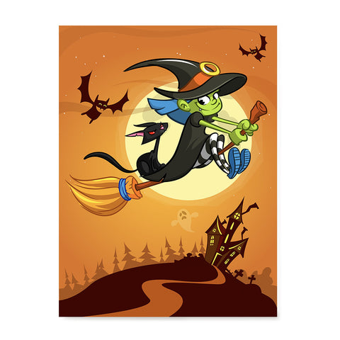 Ezposterprints - Happy Flying Young Witch 3 Halloween Poster