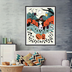 Ezposterprints - The Young Witch and The Happy Friends Halloween Poster - 36x48 ambiance display photo sample