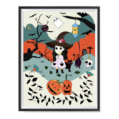 Ezposterprints - The Young Witch and The Happy Friends Halloween Poster ambiance display photo sample