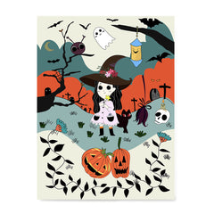 Ezposterprints - The Young Witch and The Happy Friends Halloween Poster