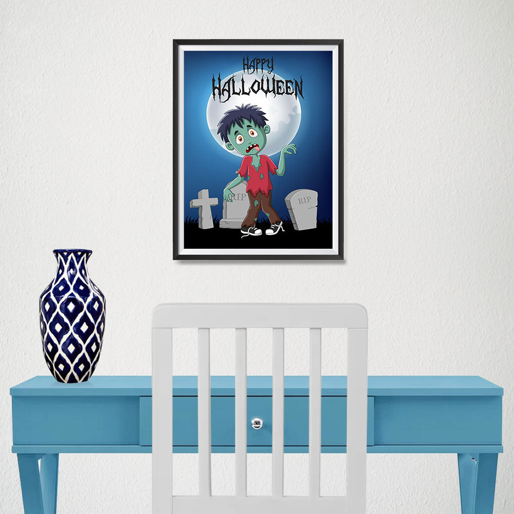 Ezposterprints - Zombie Boy Under The Moon Halloween Poster - 12x16 ambiance display photo sample