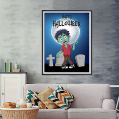 Ezposterprints - Zombie Boy Under The Moon Halloween Poster - 36x48 ambiance display photo sample