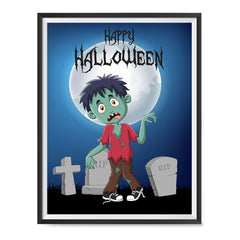 Ezposterprints - Zombie Boy Under The Moon Halloween Poster ambiance display photo sample