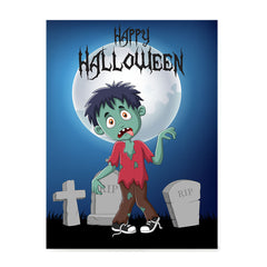 Ezposterprints - Zombie Boy Under The Moon Halloween Poster