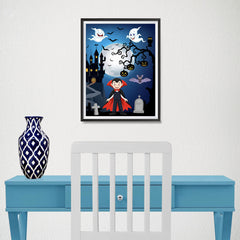 Ezposterprints - Young Dracula Halloween Poster - 12x16 ambiance display photo sample