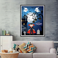 Ezposterprints - Young Dracula Halloween Poster - 36x48 ambiance display photo sample