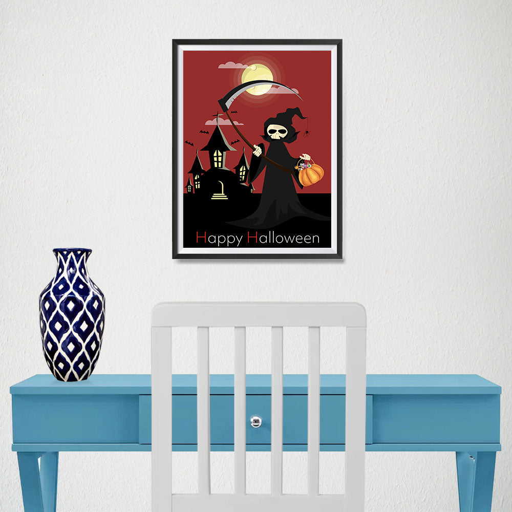 Ezposterprints - The Reaper With Treats Halloween Poster - 12x16 ambiance display photo sample