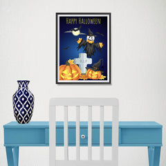 Ezposterprints - Pumpkin Lanterns at Cemetery Halloween Poster - 12x16 ambiance display photo sample