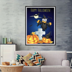 Ezposterprints - Pumpkin Lanterns at Cemetery Halloween Poster - 36x48 ambiance display photo sample