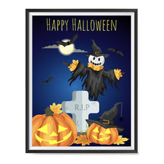 Ezposterprints - Pumpkin Lanterns at Cemetery Halloween Poster ambiance display photo sample