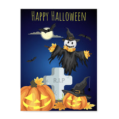 Ezposterprints - Pumpkin Lanterns at Cemetery Halloween Poster