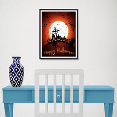 Ezposterprints - Midnight at Cemetery Halloween Poster - 12x16 ambiance display photo sample