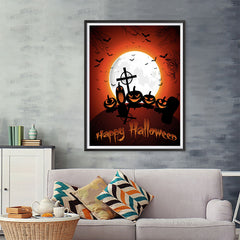 Ezposterprints - Midnight at Cemetery Halloween Poster - 36x48 ambiance display photo sample