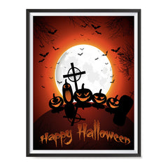 Ezposterprints - Midnight at Cemetery Halloween Poster ambiance display photo sample