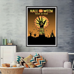 Ezposterprints - Unleash The Demon Party Halloween Poster - 36x48 ambiance display photo sample