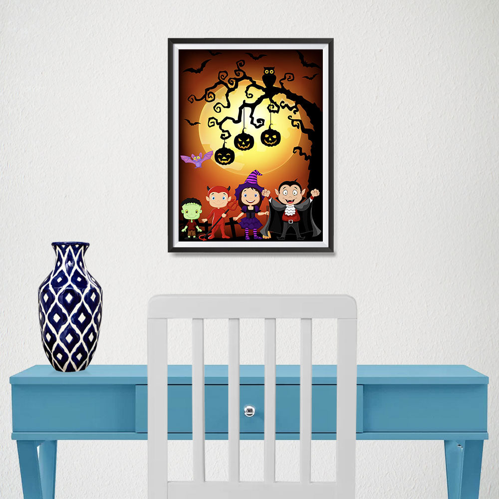 Ezposterprints - Kids with Costumes Halloween Poster - 12x16 ambiance display photo sample