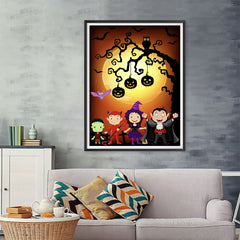 Ezposterprints - Kids with Costumes Halloween Poster - 36x48 ambiance display photo sample