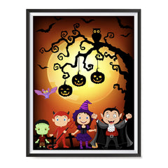 Ezposterprints - Kids with Costumes Halloween Poster ambiance display photo sample