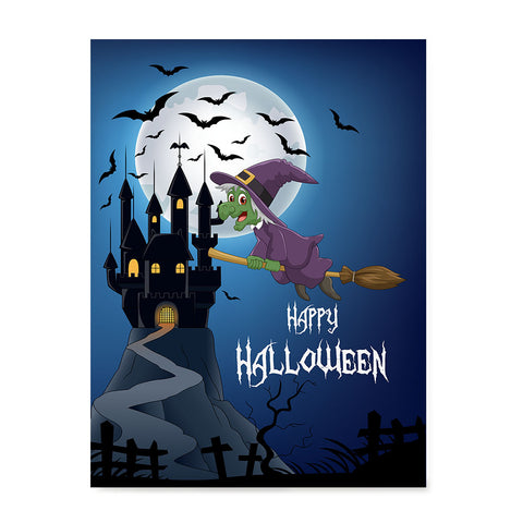 Ezposterprints - Green Witch Flying Back to Castle Halloween Poster