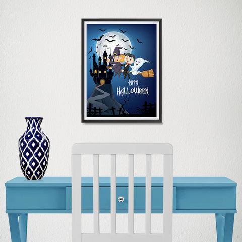 Ezposterprints - Happy Kids Flying Back to Castle Halloween Poster - 12x16 ambiance display photo sample