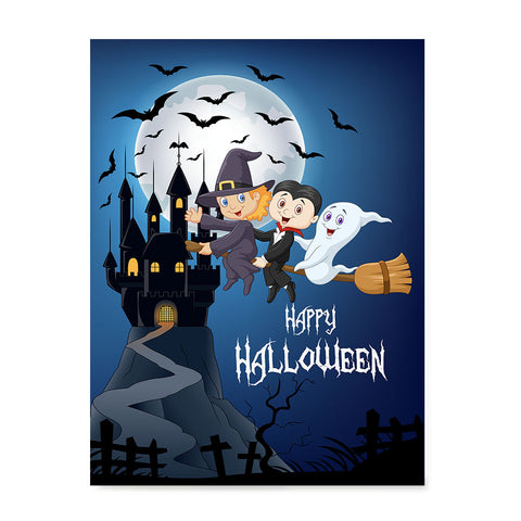 Ezposterprints - Happy Kids Flying Back to Castle Halloween Poster