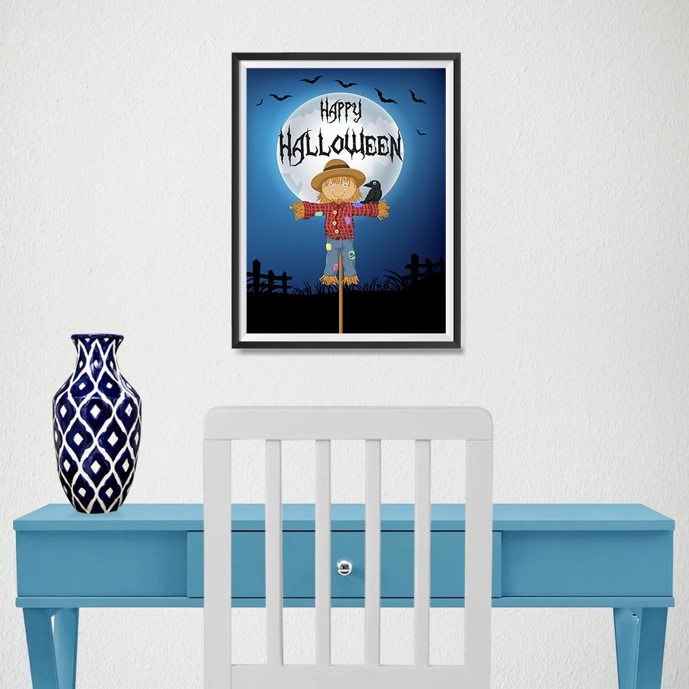 Ezposterprints - Scarecrow at Night Halloween Poster - 12x16 ambiance display photo sample