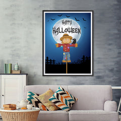 Ezposterprints - Scarecrow at Night Halloween Poster - 36x48 ambiance display photo sample
