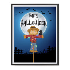 Ezposterprints - Scarecrow at Night Halloween Poster ambiance display photo sample