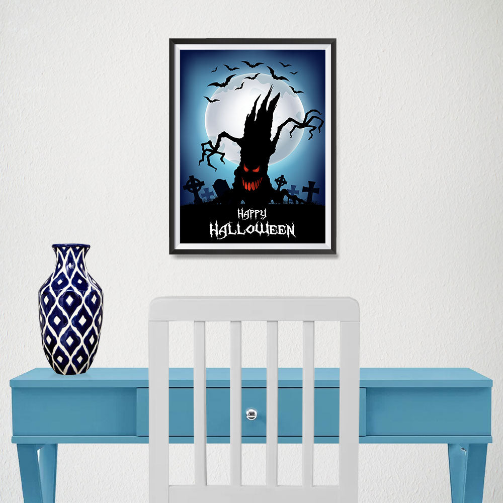 Ezposterprints - The Psycho Tree Halloween Poster - 12x16 ambiance display photo sample