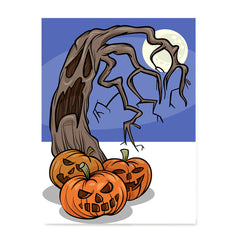 Ezposterprints - Three Pumpkins and The Tree Halloween Poster