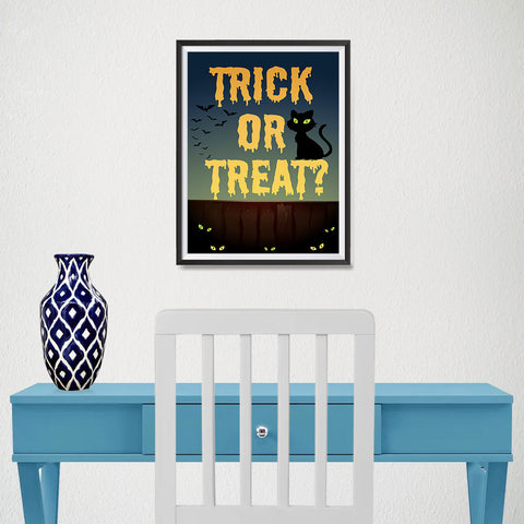 Ezposterprints - Trick or Treat? Halloween Poster - 12x16 ambiance display photo sample