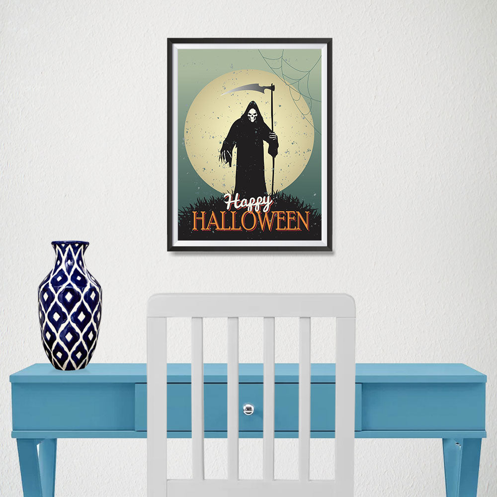 Ezposterprints - The Grunge Gothic Reaper Halloween Poster - 12x16 ambiance display photo sample