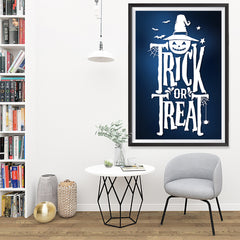 Ezposterprints - Trick Or Treat - Blue Halloween Poster - 32x48 ambiance display photo sample