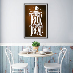 Ezposterprints - Trick Or Treat - Brown Halloween Poster - 12x18 ambiance display photo sample