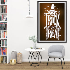 Ezposterprints - Trick Or Treat - Brown Halloween Poster - 32x48 ambiance display photo sample